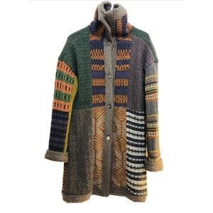 🍁 ETRO Patchwork Cardigan-Coat MultiKnit Wool M